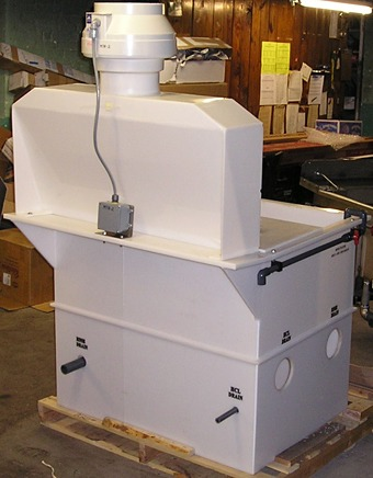 Rear view of Polypropylene Hydrochloric Acid Tank with attached front rinse tank, hood, and exhaust blower.